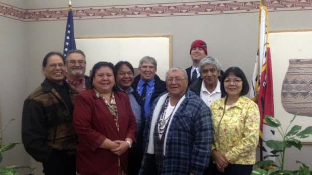 Members of the Karuk Tribal Council, 2014–2015. From left to right: Vice-Chairman Robert Super, Secretary/Treasurer Joseph Waddell, Elsa Goodwin (Happy Camp), Arch Super (Yreka), Chairman Russell Attebery, Sonny Davis (Yreka), Joshua Saxon (Orleans), Alvis Johnson (Happy Camp), and Renee Stauffer (Orleans).