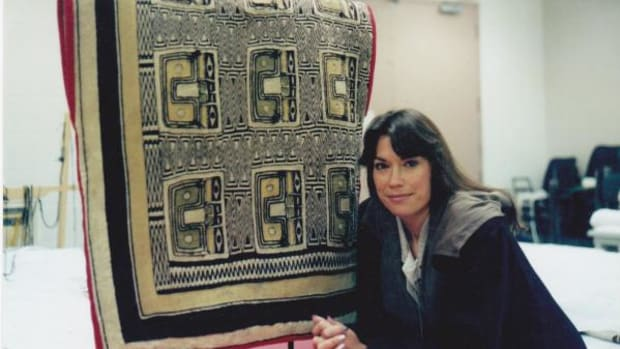 Evelyn Vanderhoop is a Pacific Northwest Coast textile weaver from the Haida Nation.