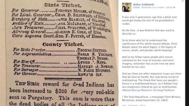 A screen shot of Goldtooth's Facebook page with the 1863 newspaper clipping and his comments that sparked discussion on Facebook.
