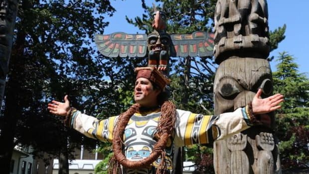 Indigenous culture was feted heartily in Victoria, British Columbia, in a three-day festival culminating in National Aboriginal Day and kicking off 10 days of celebrations leading up to Canada Day on July 1. Above, Andy Everson, Kwakwaka'wakw Nation, leads the Totem Tour.