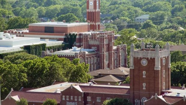 """University of Oklahoma's Student Union, Evans Hall, and Bizzell Memorial Library, seen from the roof of Sarkeys Energy Center. The school is talking more about diversity now after rumors of an alleged """"Cowboys and Indians"""" party came to light."""