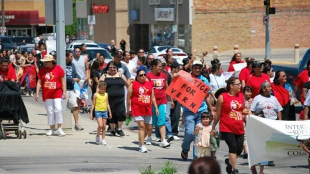 Almost 700 American Indians from around Indian country marched in protest of the alleged treatment Oglala Lakota Elder Vern Traversie endured while in the care of Rapid City Regional Hospital for open heart surgery in 2011. The Justice for Vern Traversie March and protest took place May 21.