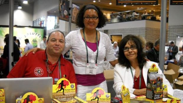Left to right: Mark Tilsen, Danaj Edmond and Karlene Hunter promoted Native American Natural Foods' jerky and energy bars at the NASFT Fancy Food Show. Again this year, Native American Natural Foods's team will present its products at the 56th Summer Fancy Food Show in New York City, June 30-July 2, 2013. (Courtesy Native American Natural Foods)