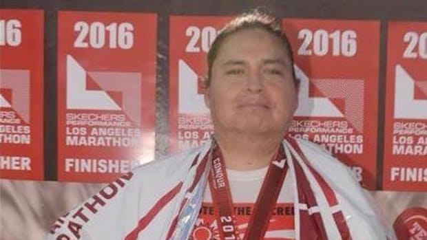 George Funmaker, Ho-Chunk and Dakota, dedicated his 2016 Los Angeles Marathon run to the protection of Oak Flat and other sacred sites.
