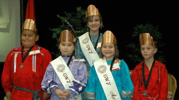 A pow wow planner #FlashbackFriday image. Winners of the Cherokee Nation's 2011-2012 Little Ambassadors Leadership Competition shown left to right are Sammie Girty (7–9), Maggie Welsh (7–9), Cierra Fields (10–12), Lilli Jo Jordan (4–6) and Hayden Girty (4–6).