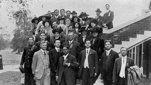 Attendees of the Second Annual Conference of the Society of American Indians at Ohio State University (OSU), October 5, 1912.