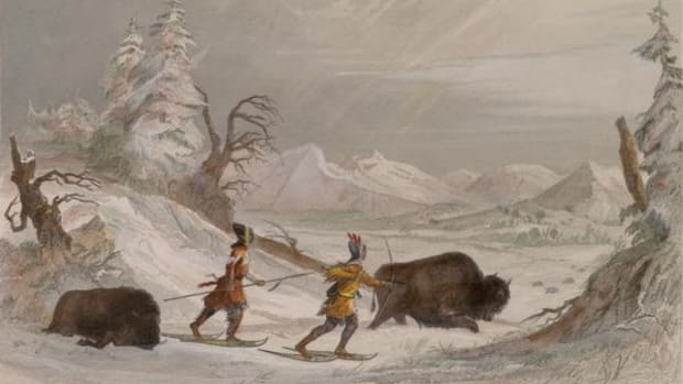 """Hunting the Buffalo in Winter,"" by Seth Eastman (1808–1875), Pl.10, printed by R. Hinshelwood."