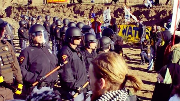 Water protectors rounded up on October 22.