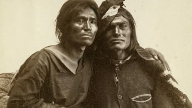 A historical image of Two Spirit Native people.