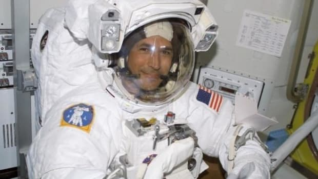 John Herrington, enrolled member of the Chickasaw Nation, on his shuttle mission, which lifted off on November 23, 2002.