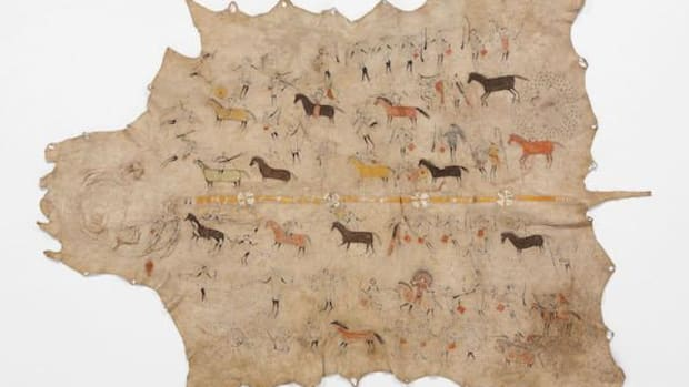 This buffalo-hide robe is covered in the exploits of at least two Lakota warriors and includes 60 figures depicted across 14 events. The exhibition at the Metropolitan Museum of Art, 'The Plains Indians: Artists of Earth and Sky,' runs through May 10. On loan from Musée du quai Branly, Paris.
