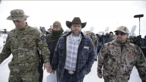 When Ammon Bundy, center, took over the Malheur Wildlife Refuge in support of fellow ranchers he knew nothing of the storied history of the Paiutes.
