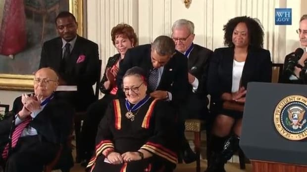 Suzan Shown Harjo receiving the Medal of Freedom from President Barack Obama in November 2014.