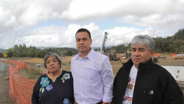 Coyote Valley Band of Pomo Indians tribal representatives Priscilla Hunter (left) and Eddie Knight (right) with tribal Chairman Mike Hunter visit the Willits Bypass construction site on the Northern California coast, where they and Sherwood Valley Rancheria Band of Pomo Indians officials say Caltrans officials are breaking the law and damaging important archaeological sites.