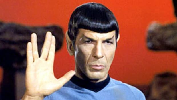 Leonard Nimoy as Mr. Spock, giving the 'Live Long and Prosper' salute on his home planet of Vulcan, in Episode 34 ('Amok Time') of 'Star Trek.' (Rex Features via AP Images)