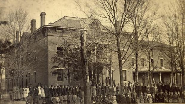 The Cherokee Orphan Asylum opened in 1877 six miles south of Tahlequah, Oklahoma.