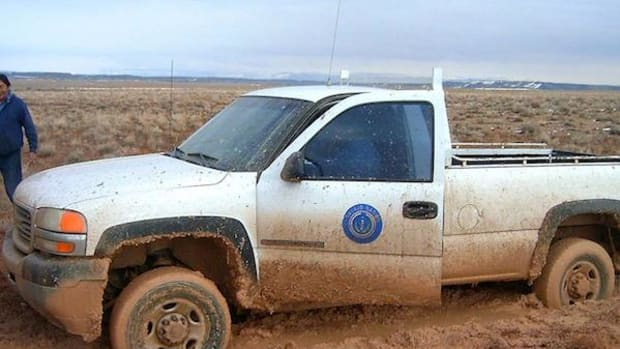 Ten inches of mud can be typical on the unpaved roads of the Navajo Nation during spring thaw, making access to remote communities especially difficult.