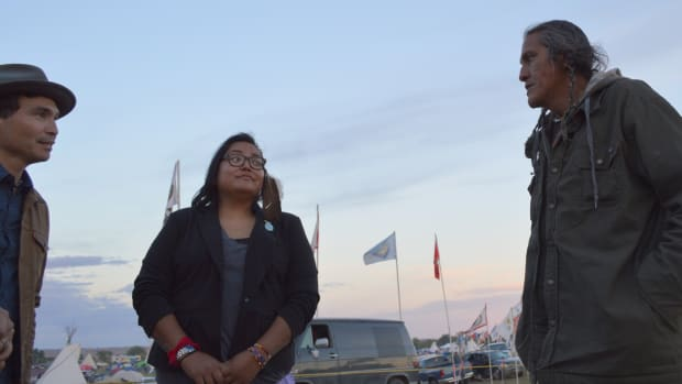 Thing About Skins: Jimmy Starkey speaks with young people at Standing Rock.