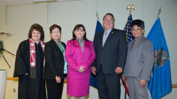 From left, Chickasaw Nation Supreme Court Justice Cheri Bellefeuille-Gordon, Sulphur; and Chickasaw legislators Katie Case, Ada; Connie Barker, Marietta; Steven Woods, Davis; and Dean McManus, Ada, each reaffirmed their oath of office at the Chickasaw Nation Oath of Office ceremony conducted October 1 in Ada, Oklahoma.
