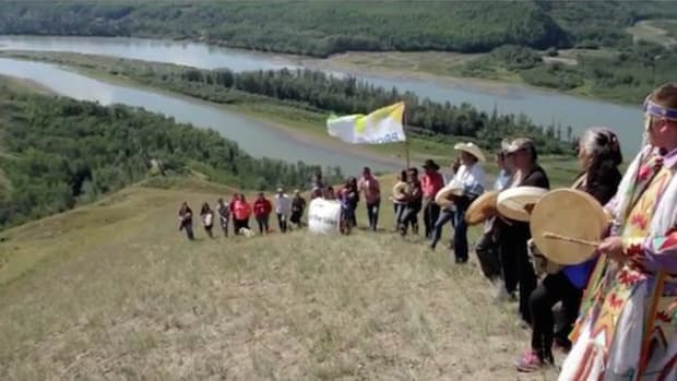 Protesters stand guard over the proposed Site C dam portion of the Peace River in British Columbia. Eagles' nests and 12,000 years of history are at stake.
