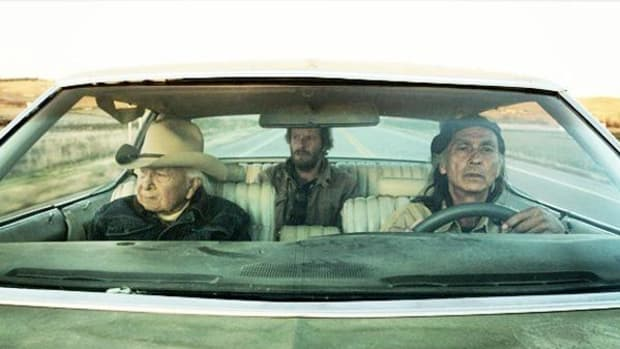 Dave Bald Eagle, Christopher Sweeney, and Richard Ray Whitman on the road in 'Neither Wolf Nor Dog.'