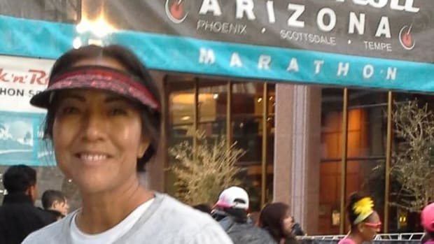 Mary Kim Titla, San Carlos Apache and executive director of UNITY, Inc., at the start of the 26.2 mile course.