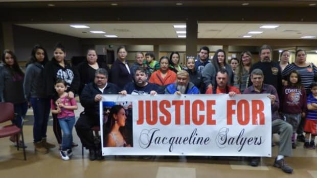 "Puyallup tribal member Jacqueline Salyers was fatally shot by Tacoma police January 28. Family, friends and members of the extended Tacoma community have met to plan a March 16 march, ""Justice for Jackie,"" to demand answers about her death. Here, they are shown on March 1 at the Puyallup Tribe's youth center."