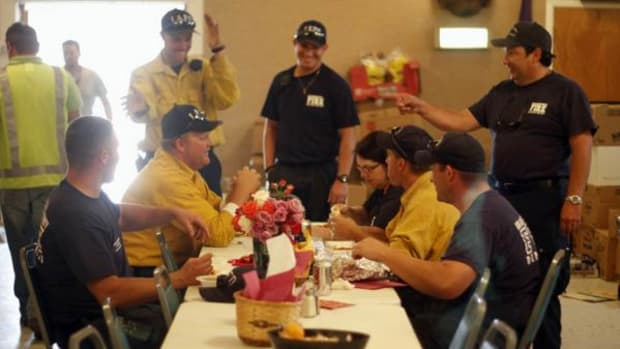 Los Alamos County firefighter hang out at the Elks Lodge in Los Alamos, New Mexico, while they get lunch on Sunday, July 3, 2011. The Elks Lodge volunteered to feed all the people working and staying in Los Alamos during the Las Conchas Fire.