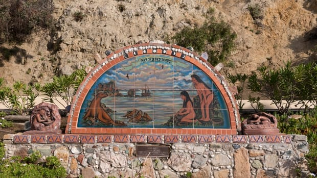 This tile work mural in Avalon on Santa Catalina Island, off the coast of California, serves as a memorial dedicated to the original peoples of the island.