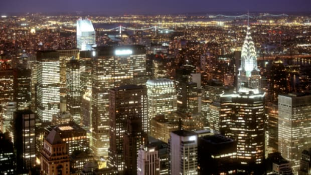 The New York City skyline as seen from high above the hustle and bustle of the metropolis.