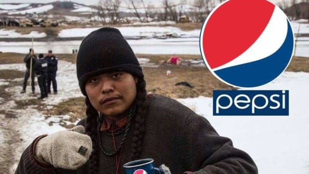 Frankie Tso, Jr. (Diné) holds a Photoshopped can of Pepsi while police stand close behind.