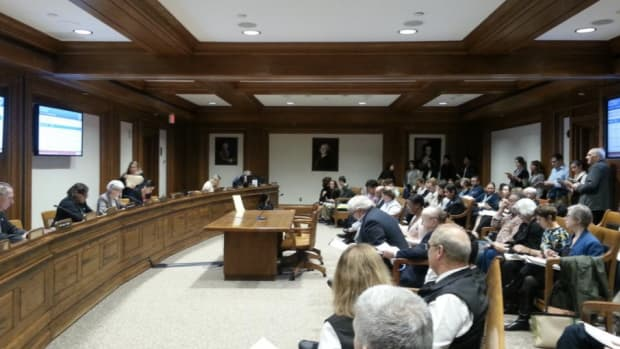 A hearing is held at the Massachusetts statehouse concerning the use of Native American mascots at public schools throughout the state.
