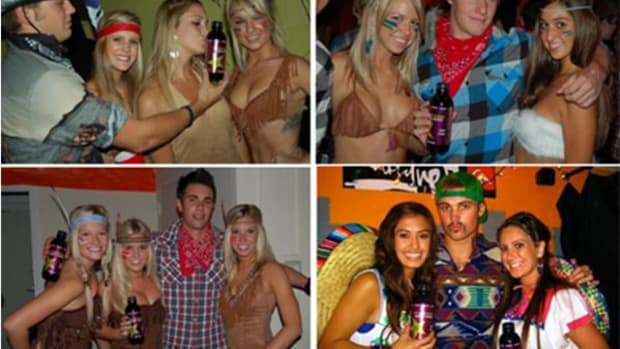 """San Diego State University's Aztec mascot Monty Montezuma is still around, and these Facebook images from a """"Cowboys and Navahoes"""" party show how a mascot can affect the student population."""