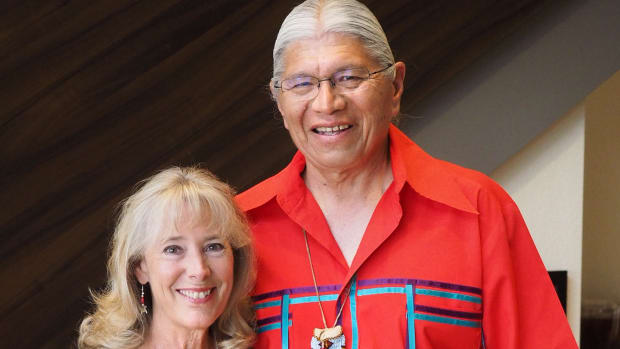 John Gritts with his wife, Page Lambert. Gritts was recently honored by the American Indian College Fund with a Lifetime Achievement Award for his support of tribal colleges and universities.