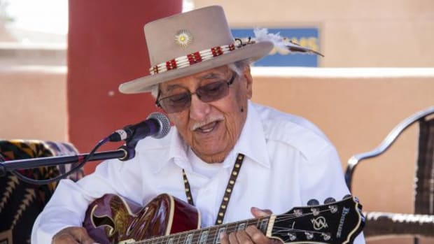 A. Paul Ortega, a famed musician and Mescalero Apache Medicine Man who has played with such greats as Floyd Crow Westerman and Sharon Burch, gave one last performance to an enthusiastic crowd at the Indian Pueblo Cultural Center in Albuquerque, NM on Dec. 4th