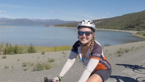 University of Texas senior and Chickasaw Nation citizen Sierra Welch somewhere on the road in Alaska on a 4,700-mile journey as part of the Texas 4000, the world's largest charity bike ride to fight cancer.