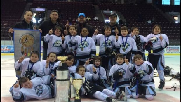The Batchewana Attack team won the novice boys' championship final at the Little Native Hockey League Tournament.
