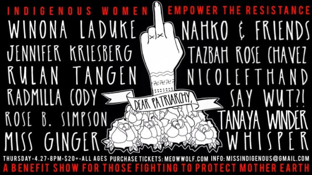 Located at the Meow Wolf Art Complex in Santa Fe and taking place April 27th, Dear Patriarchy will include a stunning lineup of artists and headliners including Winona LaDuke, Radmilla Cody and Tanaya Winder.