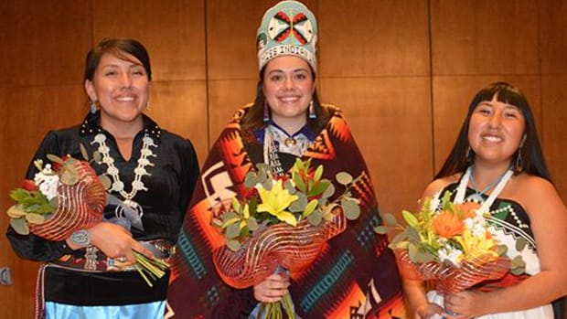 Junior Marika Trujillo (center) from Laguna Pueblo has been crowned Miss Indian University of New Mexico 2016-2017. On the left is Tia Benally, and on the right is Alysia Coriz.
