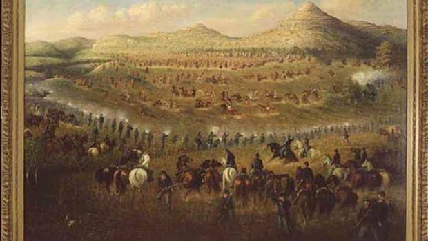 A painting of the Killdeer Mountain Conflict of 1864 by Carl Boeckman.