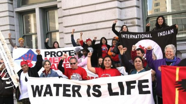 On March 12, 2015, about 150 Pit River tribal members, environmentalists and supporters rallied outside the 9th Circuit Court of Appeals after the judges listened to arguments about the legality of a massive geothermal fracking project planned for the Medicine Lake Highlands, a sacred area to the Pit River people.