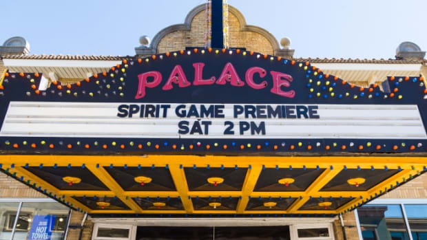 The 'Spirit Game, Pride of a Nation' premiere marquee.