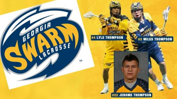 The Georgia Swarm announced Tuesday that Buffalo Bandits forward Jerome Thompson will be joining the Georgia Swarm and reunite with his younger brothers, Lyle and Miles Thompson, on the NLL Lacrosse team.