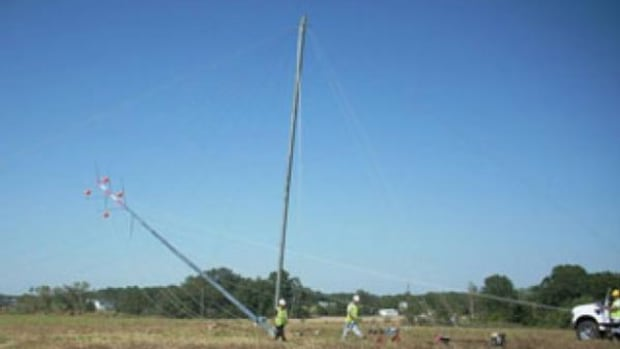 Photo courtesy Meskwaki Nation. The anemometer, used to measure wind force and speed, was installed on the meteorological tower last summer. Wind speeds will be gathered for a year before a decision is made to erect a wind turbine.