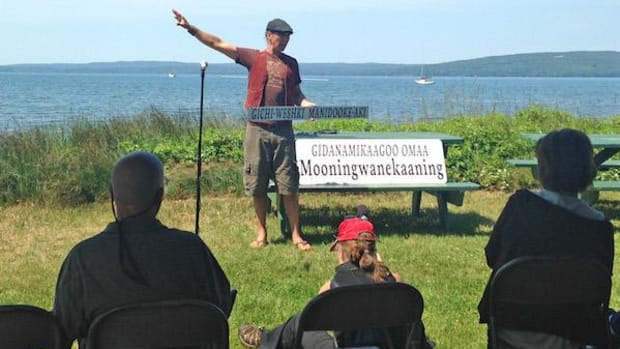 Bilingual signage was dedicated on Madeline Island last summer, in a ceremony by Lake Superior. The Ojibwa want the island added to the National Register of Historic Places.