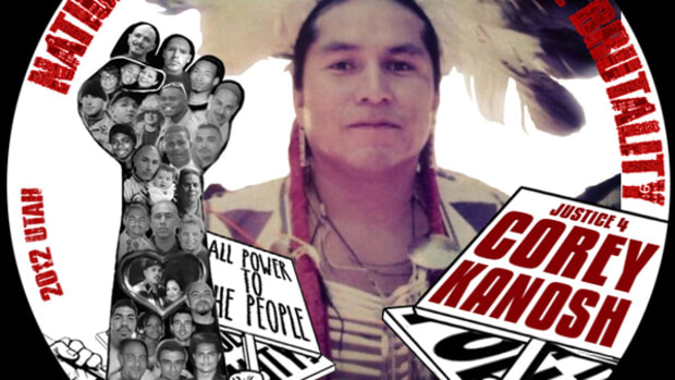 Button commemorating the 2012 death of Marlee Kanosh's brother, Corey, created by the advocacy group National Unity Against Police Brutality.