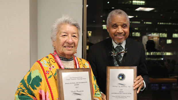 Noeli Pocaterra and Dr. Waldaba H Stewart, recipients of this year's Flying Eagle Woman Fund award to honor the work of slain activist Washinawatok El-Issa.