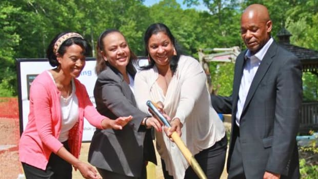 Tribal Council members Jean Swift, Richard Sebastian, Fatima Dames, and Marjorie Colebut-Jackson broke ground for the first of the tribe's affordable housing.