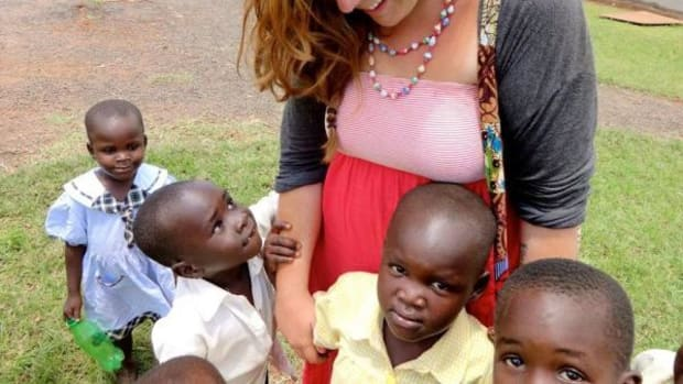 Sydney Farhang working with the youth of Uganda.