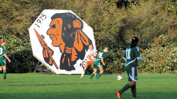 Seven schools in Oregon are fighting to keep their Native American mascot. The Molalla High Indians, above, is one of them.